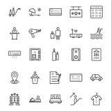 L'icona di vettore isolata bobina del filo per il cucito e l'adattamento il viaggio e del giro ha isolato le icone di vettore imb illustrazione di stock