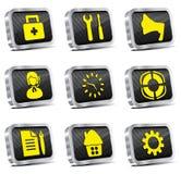 L'icona di Web del metallo ha impostato (versione del bicromato di potassio) Fotografie Stock