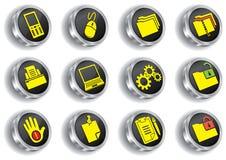 L'icona di Web del metallo ha impostato (versione del bicromato di potassio) Illustrazione Vettoriale