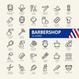 L'icona di web del negozio di barbiere ha messo - l'insieme dell'icona del profilo illustrazione di stock