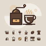 L'icona di web del profilo ha messo - beva il caffè, tè Fotografia Stock