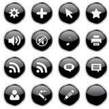 L'icona di Web ha impostato 4 (estremità nera 16 Immagine Stock