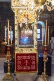 L'icona famosa delle tre mani nel monastero di Troyan, Bulgaria Fotografie Stock Libere da Diritti