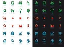 L'icona ha impostato con la riflessione Fotografia Stock Libera da Diritti
