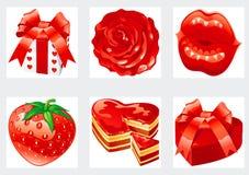 L'icona ha impostato per i biglietti di S. Valentino Fotografia Stock