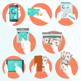 L'icona ha messo con le mani che tengono la carta di credito, smartphone Immagine Stock
