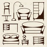 L'icona interna ha messo con mobilia nel retro stile Fotografie Stock