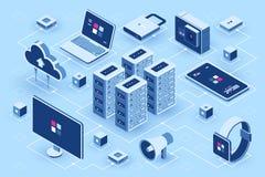 L'icona isometrica di tecnologie informatiche, stanza del server, dispositivo digitale ha messo, elemento per progettazione, il c illustrazione vettoriale