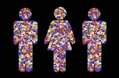 L'icona maschio e femminile crea da molti l'immagine Fotografie Stock