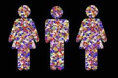 L'icona maschio e femminile crea da molti l'immagine Fotografia Stock Libera da Diritti