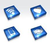 l'icona mobile di app di wifi 3d della stretta di mano lucida di amore ha messo - vector eps10 illustrazione vettoriale