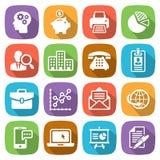 L'icona piana d'avanguardia di finanza e di affari ha fissato 1 vettore Fotografia Stock