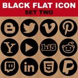 L'icona piana nera ha fissato un'immagine di due vettori Immagini Stock