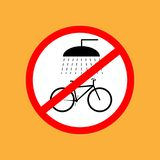 L'icona rotonda della bicicletta non lava la bicicletta, linea sottile rossa su fondo bianco - illustrazione di vettore illustrazione di stock
