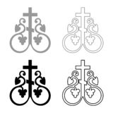 L'icona trasversale religiosa delle ancore del monogramma della vite trasversale di simbolo del segno segreto trasversale di comu illustrazione di stock