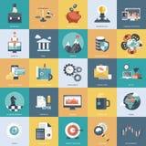 L'icona variopinta ha messo per l'affare, la gestione, la tecnologia e le finanze Oggetti piani per i siti Web ed i apps mobili illustrazione vettoriale