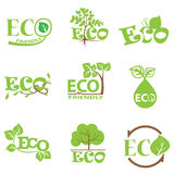 L'icona verde dell'ecologia ha messo 5 Immagini Stock Libere da Diritti
