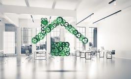 L'idée d'immobiliers ou de construction a présenté par l'icône à la maison sur le blanc Photo libre de droits