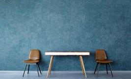 L'idée de conception intérieure du salon de grenier et le mur bleu donnent au modèle une consistance rugueuse de mur