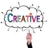 l'idée de crayon d'isolat de main écrivent des affaires créatives colorées illustration stock