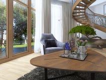 L'idée de la basse table basse en bois de conception avec le décor et la fleur Images stock