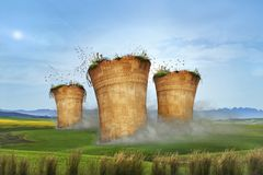 l'idée du rendu 3D le montrant est l'heure de stopper émettre la pollution atmosphérique photo stock
