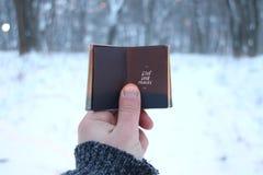 L'idée vivante de voyage d'amour, voyageur tient un livre dans sa main avec l'inscription Images libres de droits