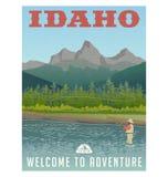 L'Idaho, manifesto di viaggio della torrente montano e della pesca con la mosca illustrazione di stock
