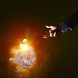 L'idea delle nuove tecnologie e dell'integrazione ha presentato dalla figura del cubo Fotografia Stock Libera da Diritti