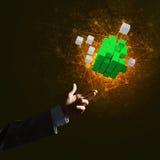 L'idea delle nuove tecnologie e dell'integrazione ha presentato dalla figura del cubo Fotografie Stock