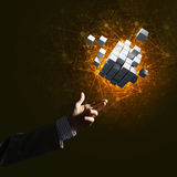 L'idea delle nuove tecnologie e dell'integrazione ha presentato dalla figura del cubo Immagini Stock