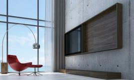 L'idea di interior design del modello del salotto e del salone e del muro di cemento e del fondo LCD della TV Immagini Stock
