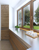 L'idea di progettazione del frigorifero incorporato nella facciata della a Fotografia Stock Libera da Diritti