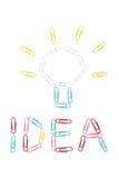 L'idea e la lampadina dalle graffette Fotografie Stock Libere da Diritti