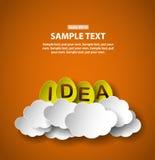 L'idea eggs sulle nuvole, illustrazione di stile del taglio della carta con il posto per testo Fotografie Stock
