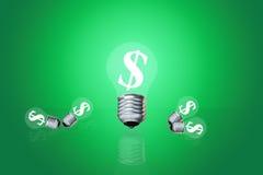 L'idea finanziaria ha guadagnato i dollari per accendere una lampada illustrazione di stock
