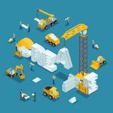L'idea isometrica di affari della costruzione 3d, creativa, crea Fotografia Stock Libera da Diritti