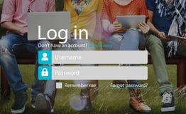 L'identifiez-vous s'enregistrent le concept de page de compte de s'inscrire image libre de droits
