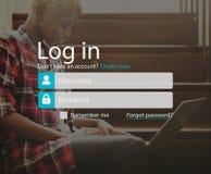 L'identifiez-vous s'enregistrent le concept de page de compte de s'inscrire photo stock
