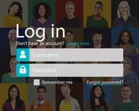 L'identifiez-vous s'enregistrent le concept de page de compte de s'inscrire images libres de droits