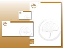 L'identité de corporation a placé - la lame de Ginkgo dans l'or/Brown Photographie stock libre de droits