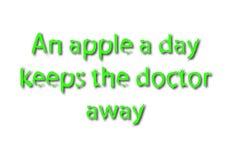 L'idioma dell'illustrazione scrive una mela che un giorno tiene il medico assente è illustrazione vettoriale