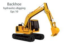 L'idraulica dell'escavatore a cucchiaia rovescia che scava macchina Fotografia Stock
