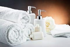 L'igiene bianca della stanza da bagno degli accessori Fotografia Stock
