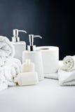 L'igiene bianca della stanza da bagno degli accessori Fotografie Stock