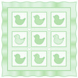 L'il Duckies Quilt, Pastel Green. Classic quilt pattern for babies or dolls. Little duckies in pastel green with gingham and polka dots Stock Photography