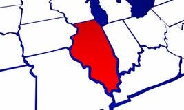 L'Illinois IL indica la mappa dello stato degli Stati Uniti d'America Fotografie Stock