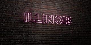 L'ILLINOIS - insegna al neon realistica sul fondo del muro di mattoni - 3D ha reso l'immagine di riserva libera della sovranità Immagine Stock
