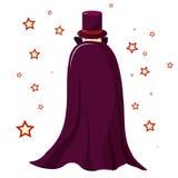 L'illusionniste de magicien dans une robe longue pourpre est couvert Regard mystérieux Seulement les yeux sont évidents Autour de Photo stock