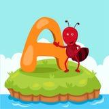 L'illustrateur de Letter'A est pour Ant Photo libre de droits
